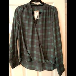Brand new blue and green plaid silky  shirt